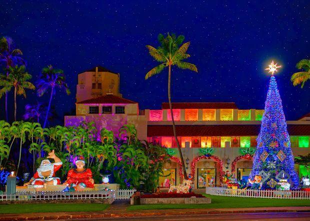 honolulu city lights weihnachten in hawaii hawaii reise. Black Bedroom Furniture Sets. Home Design Ideas